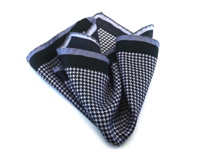 fazzoletto-taschino-seta-pochette-geometrico-pied-de-poul-bianco-nero-grigio-Gigetto