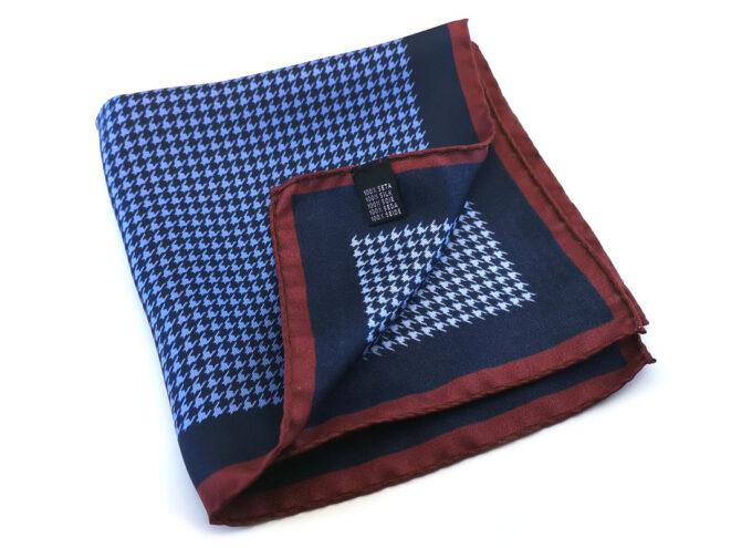 fazzoletto taschino seta pochette geometrico pied de poul blu bordeaux Gigetto