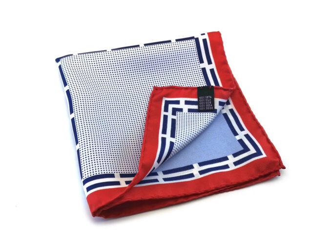 fazzoletto taschino seta pochette geometrico pois quadri blu bianco rosso fantasia Gigetto