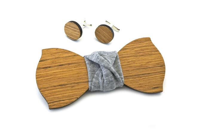 gigetto papillon legno spilla fiore occhiello gemelli striato grigio