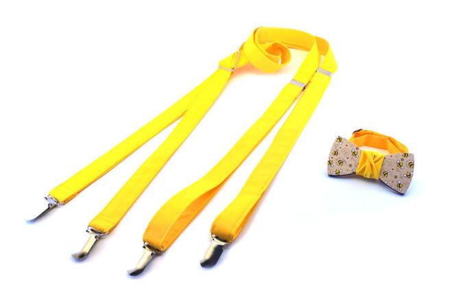Gigetto bretelle artigianali in stoffa gialla papillon legno dipinto a mano api