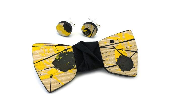 papillon legno gigetto action painting gemelli giallo nero cotone nero schizzi