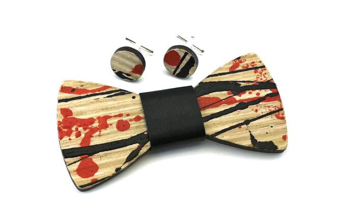 papillon legno gigetto action painting rosso nero cotone nero schizzi