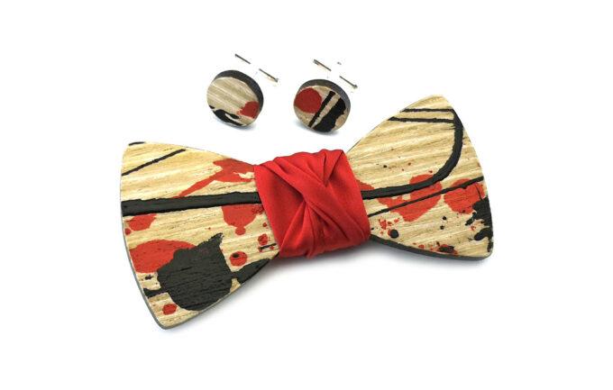 papillon legno gigetto action painting rosso nero cotone rosso schizzi