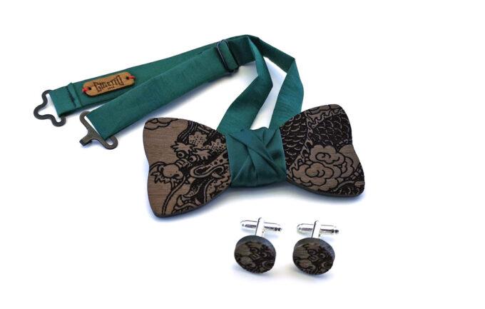 papillon legno bretelle e gemelli Gigetto verde wenge drago cinese