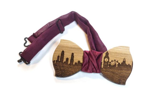 papillon legno gigetto skyline londra ciliegio resina by Ilenia