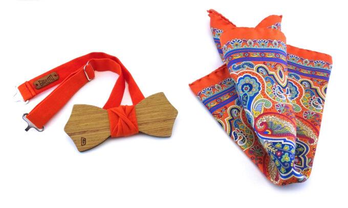 papillon legno fazzoletto taschino seta arancione Gigetto