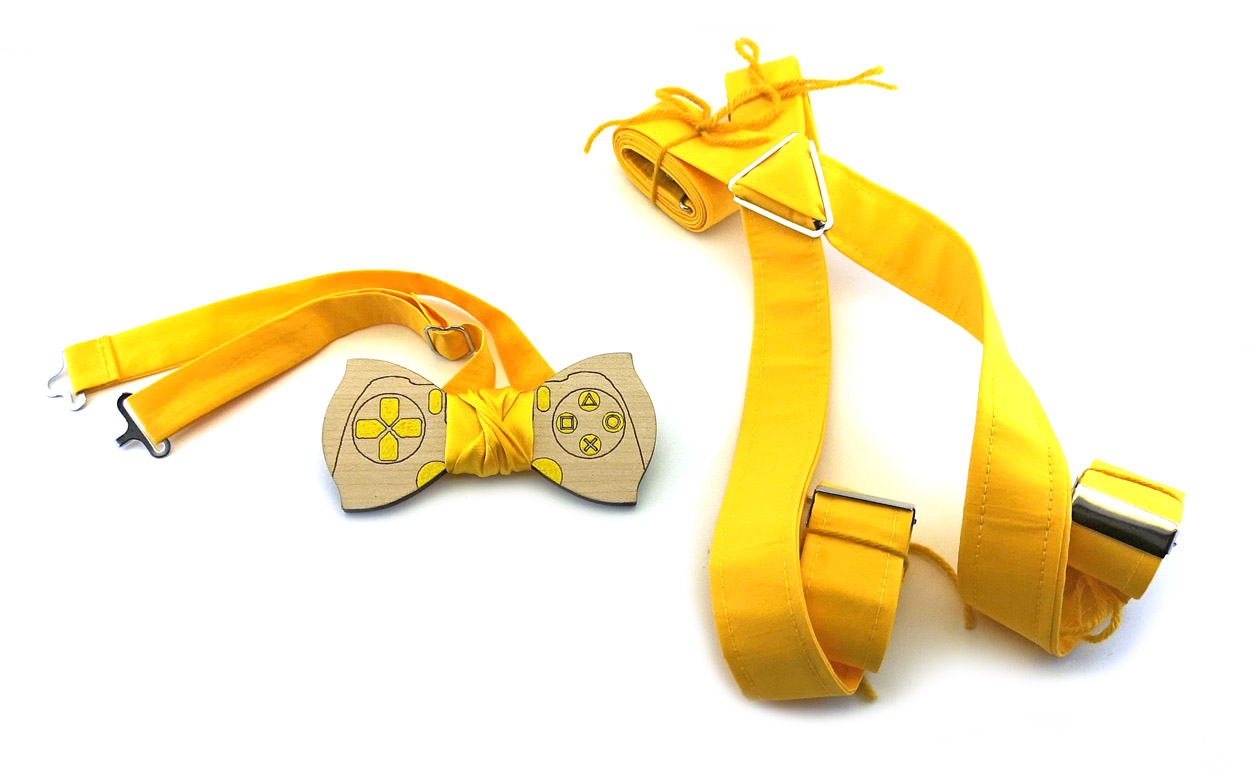 vasta selezione marchi riconosciuti Buoni prezzi Papillon in legno, gamepad, bretelle in cotone giallo