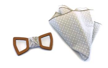 papillon legno mogano bucato fazzoletto taschino beige pois bianchi