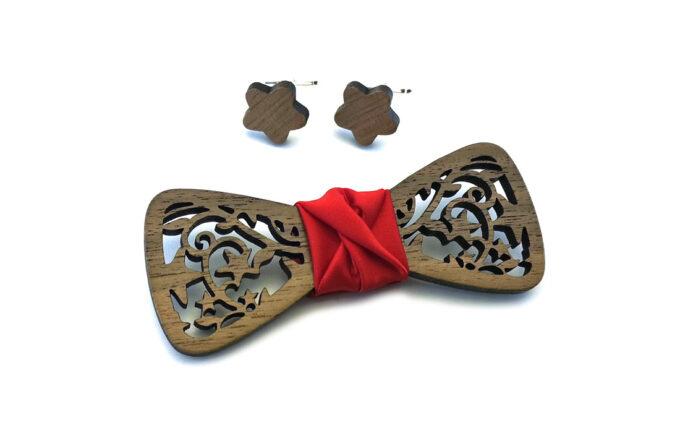 papillon legno noce traforato stella gemelli raso ross Gigetto