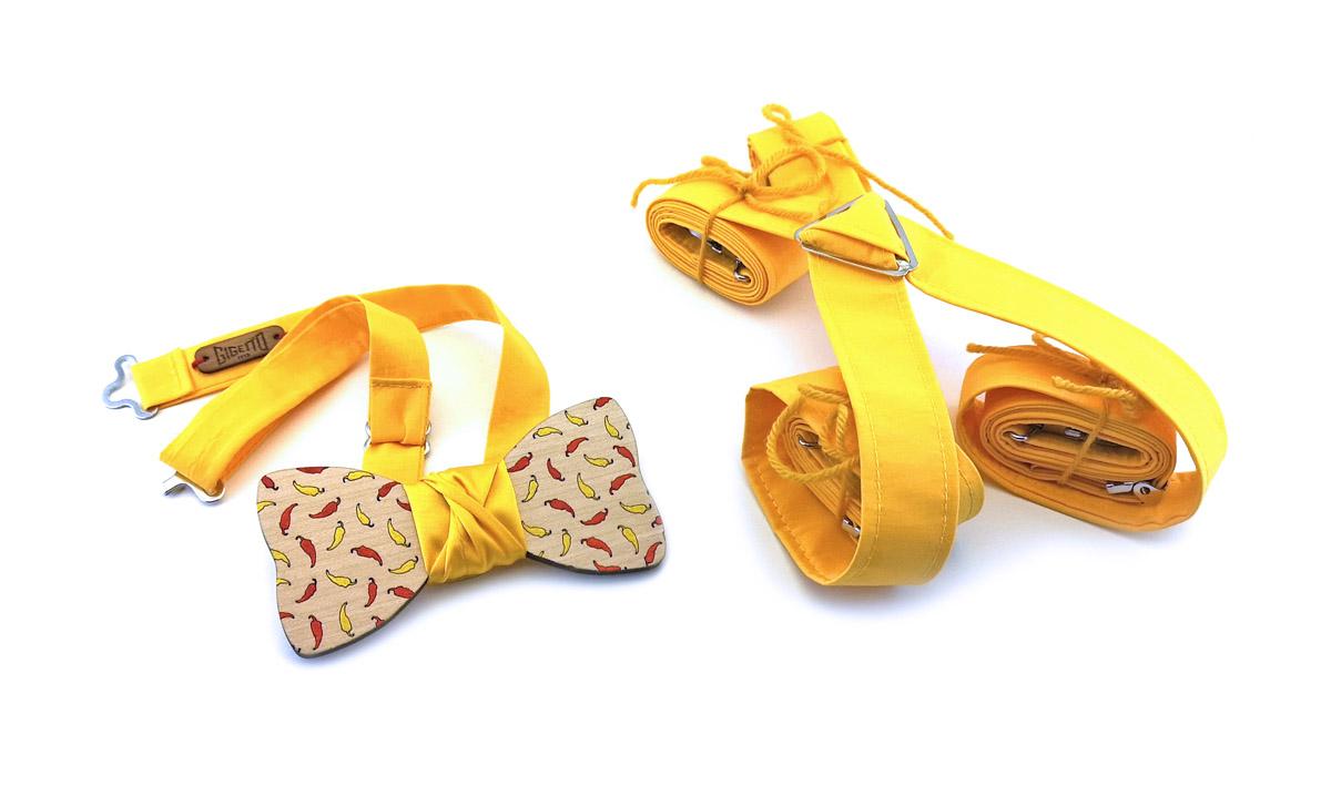 ultima selezione del 2019 sito autorizzato alta qualità Papillon in legno, peperoncini, bretelle in cotone giallo