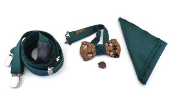 papillon legno puzzle mogano spilla fazzoletto taschino bretelle verdi nero cucite a mano Gigetto