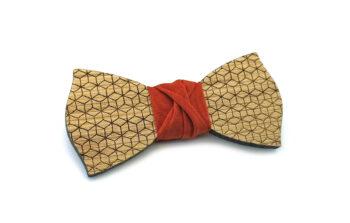 papillon legno rovere geometrico arancione rombi Gigetto