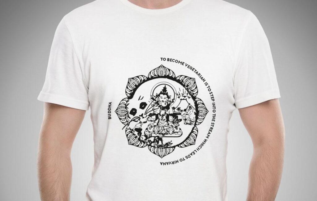 vegan tshirt maglietta veg buddha leonardo pitagora shakespeare cotone bio