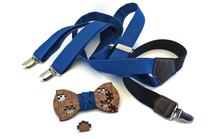 bretelle papillon legno puzzle spilla blu gigetto