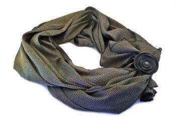 foulard seta verde pois nero fiore pelle gigetto