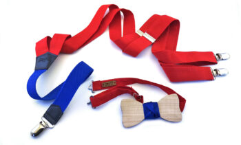 papillon bretelle rosse blu legno gigetto personalizza fatto a mano
