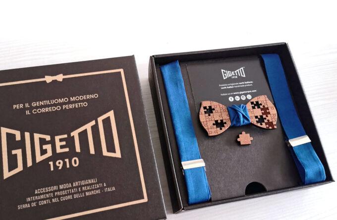 papillon gemelli legno puzzle bretelel blu spilla confezione regalo gigetto