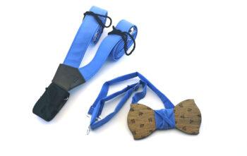 papillon legno bretelle blu celeste personalizzate gigetto