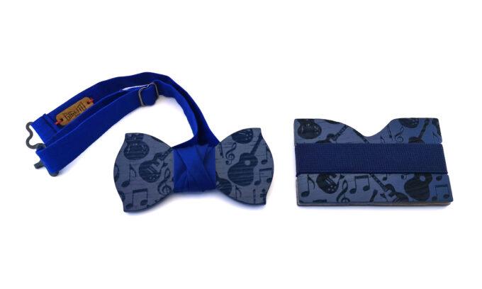 papillon portacarte portabiglietti legno blu musica chitarra gigetto