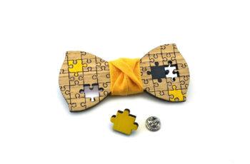 papillon spilla puzzle legno giallo nero gigetto made in italy