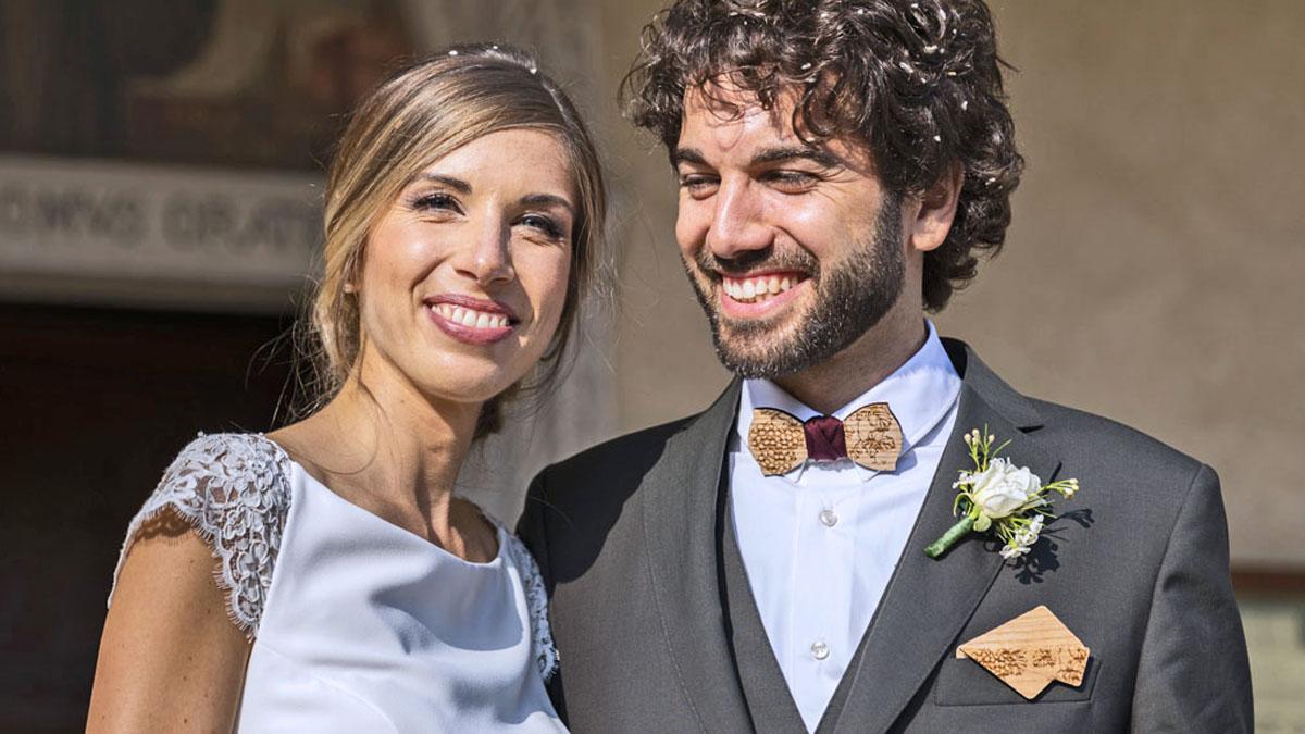 papillon legno fazzoletto taschino vino grappolo uva matrimonio sposo gigetto