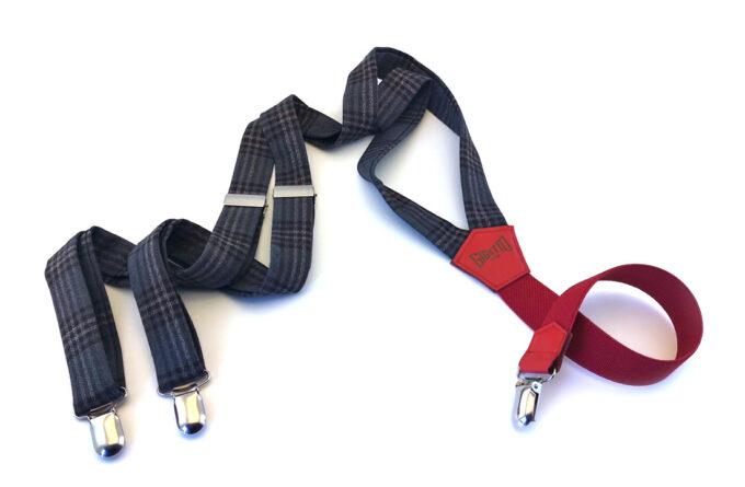 bretelle lana scacchi blu grigio elastico rosso gigetto