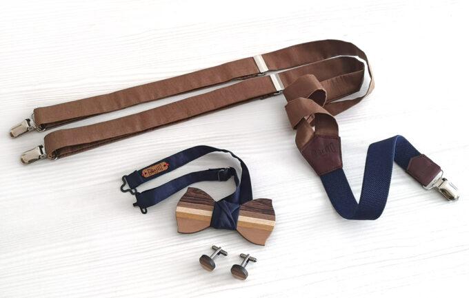 papillon gemelli legno bretelle marrone beige blu gigetto artigianali gigetto