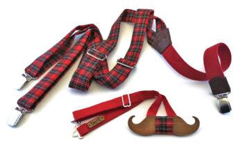 papillon legno baffo bretelle scozzese rosso tartan gigetto