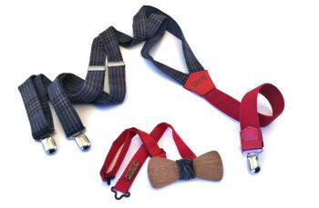 papillon legno bretelle lana scacchi blu grigio elastico rosso gigetto