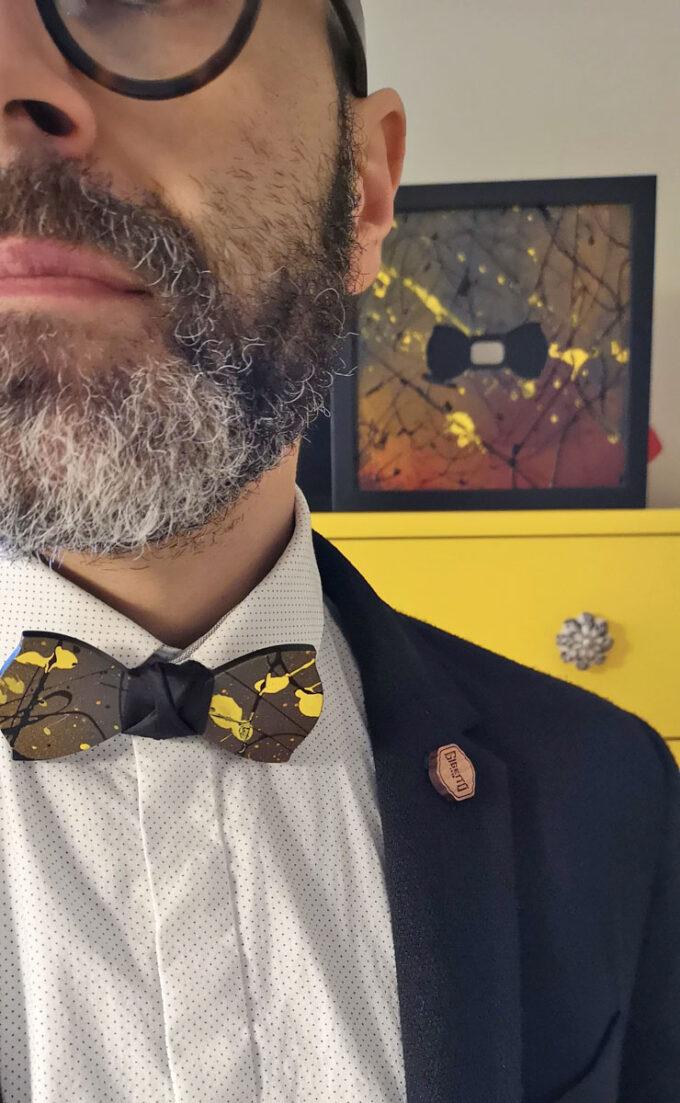 papillon legno quadro arte action painting giallo nero gigetto