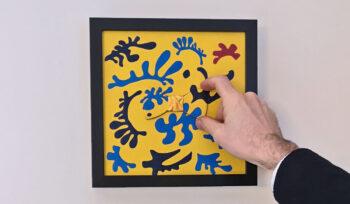 papillon legno quadro matisse giallo blu gigetto