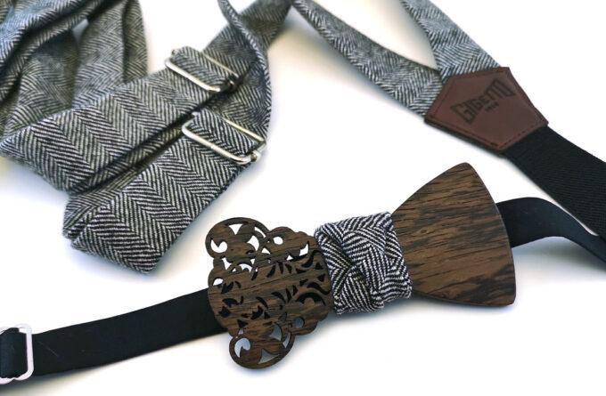 papillon legno wenge barocco traforato bretelle spina grigio nero gigetto
