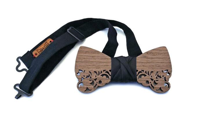 gigetto1910 papillon legno grigio barocco traforato raso nero