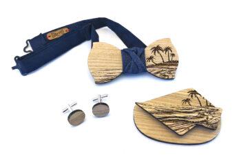 papillon gemelli fazzoletto taschino legno frassino mare spiaggia palme