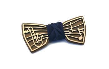 papillon musica note sassofono legno doppio strato fatto a mano made in italy blu gigetto