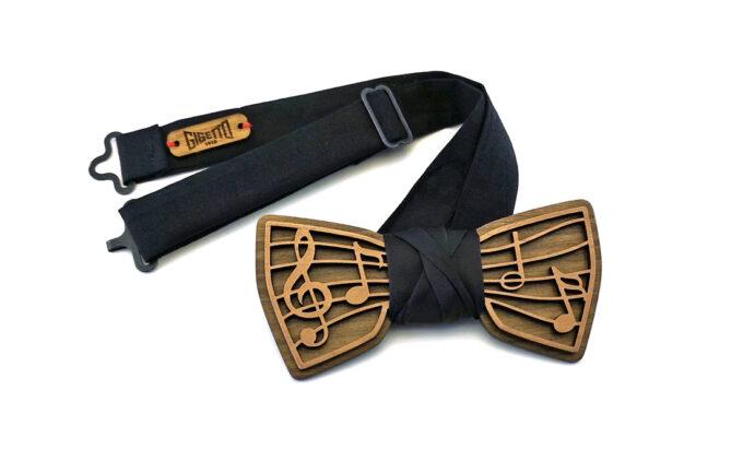 papillon musica note sassofono legno doppio strato raso nero fatto a mano made in italy gigetto