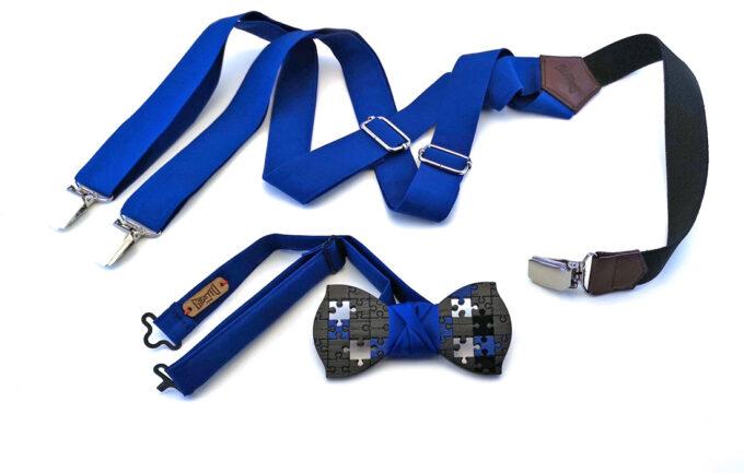 papillon puzzle legno nero bretelle blu raso made in italy gigetto