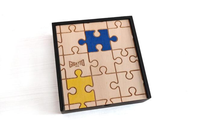 scatola legno confezione regalo papillon legno puzzle tasselli colorati a mano gigetto 1910