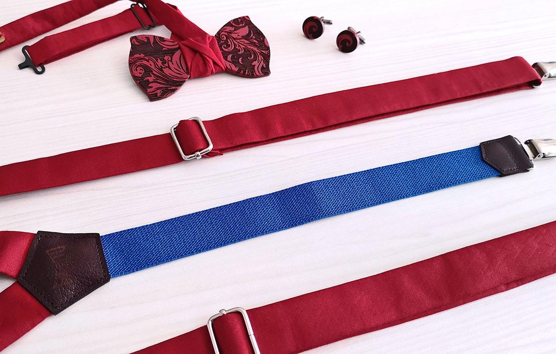 Bretelle stoffa rossa Elastico blu Made in Italy GIGETTO Papillon Legno Wenge Gemelli