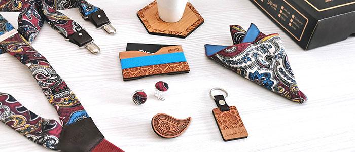 bretelle portacarte gemelli imbottiti pochette fazzoletto taschino gigetto papillon legno